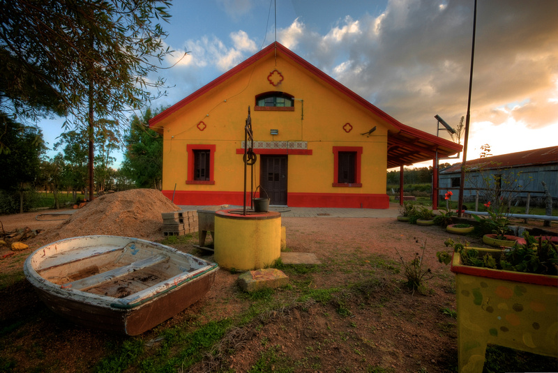 The playground in front of the old train station of José Ignacio, currently serving as a school.