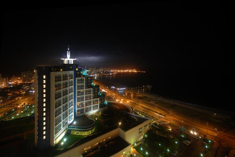 Lightning in the skies over Hotel Conrad in Punta del Este.