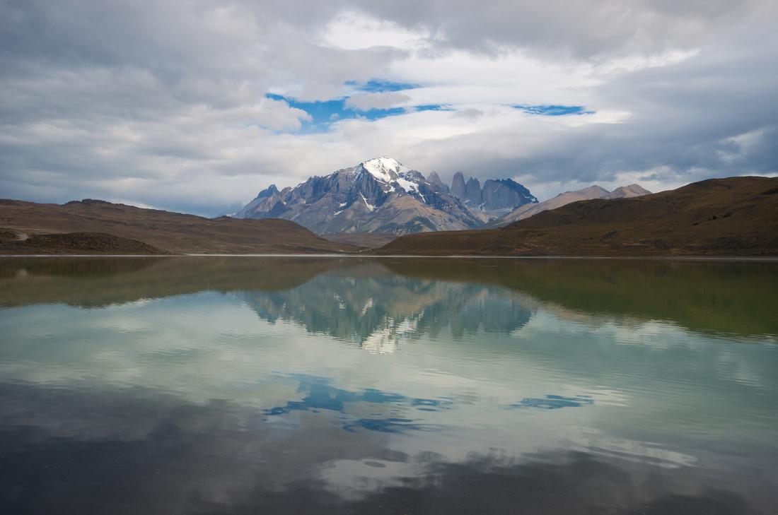 Laguna Amarga with Cerro Paine Grande and Torres del Paine in the background.