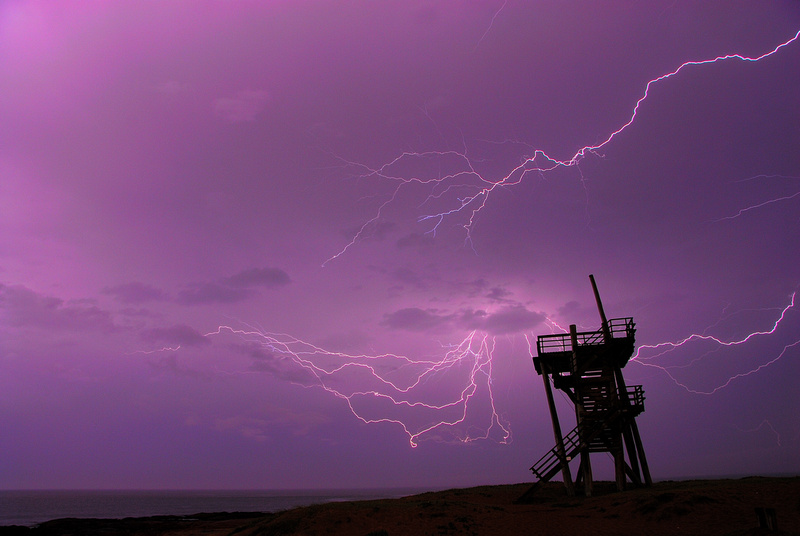 Lightning strikes at parada 34 of the Mansa beach in Punta del Este.