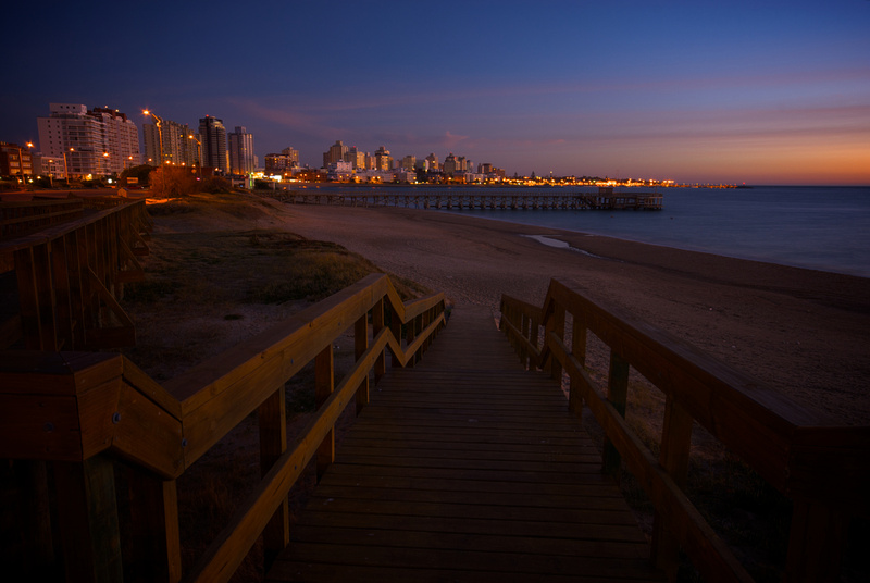 The skyline of Punta del Este at dusk.