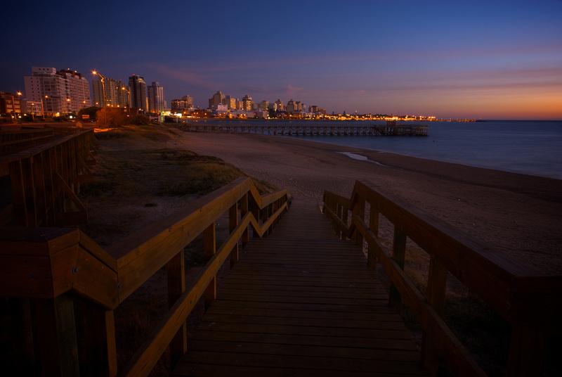 The skyline of Punta del Este at dusk.