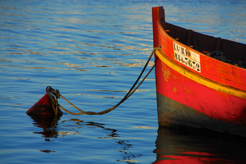 A typical fishing boat of Punta del Este tied to a mooring buoy.