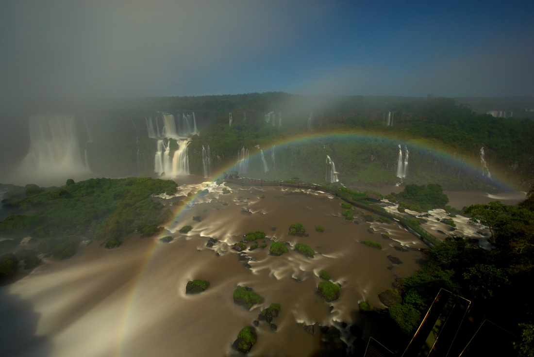 Moon rainbow at the Iguaçu falls in Brazil.