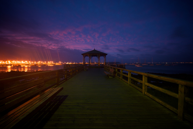 A gazebo near the harbor of Punta del Este at dusk.